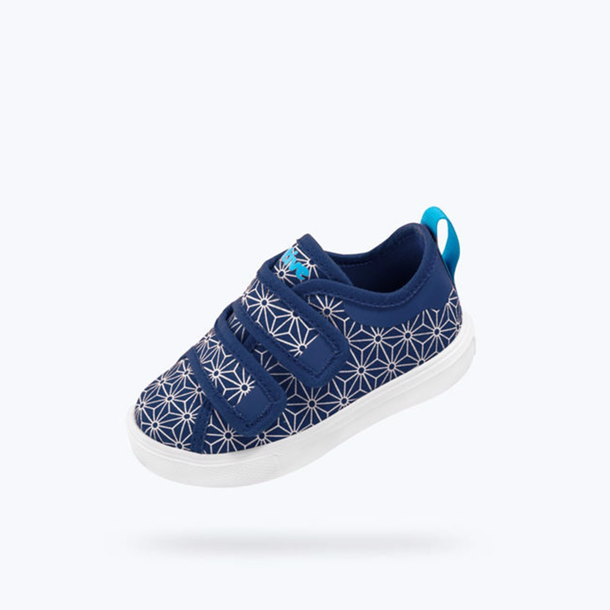 Giày native c monaco velcro canvas child (23104429) regatta blue/ shell white/ asanoha