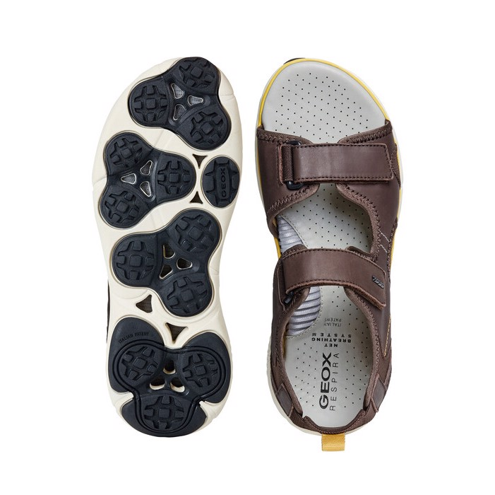 Giày sandals geox u nebula l b (u926wb) smooth leather brown/yellow