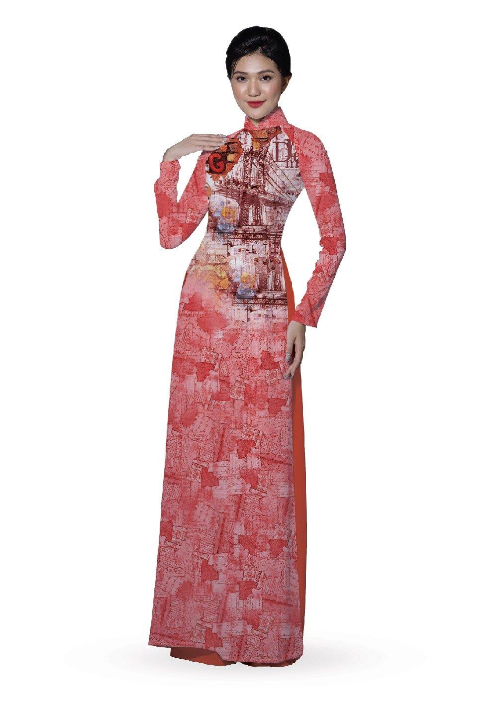 ASBR533-035-DR3 | Vải Áo Dài Hoa Văn In