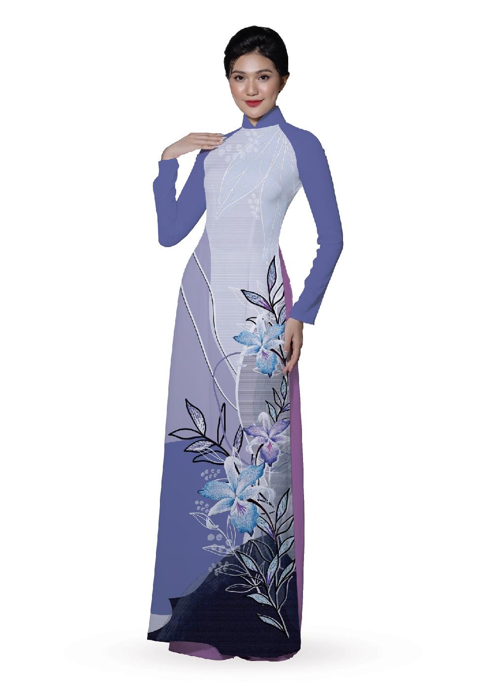 ASBR533-315-DQR | Vải Áo Dài Hoa Văn In