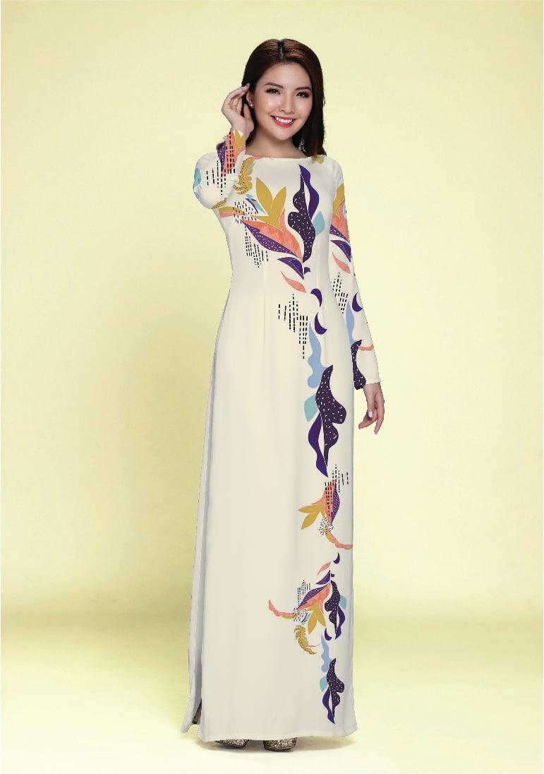 ASBR577-039-BDY | Vải Áo Dài Hoa Văn In