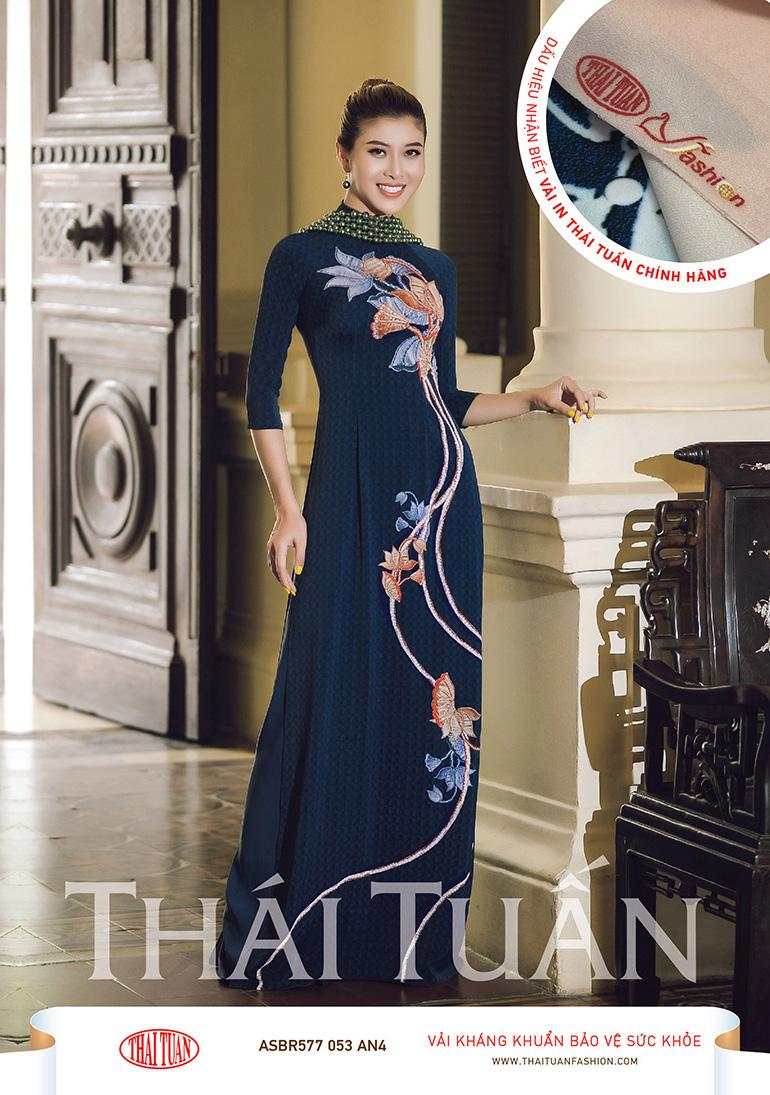 ASBR577-053-AN4 | Vải Áo Dài Hoa Văn In