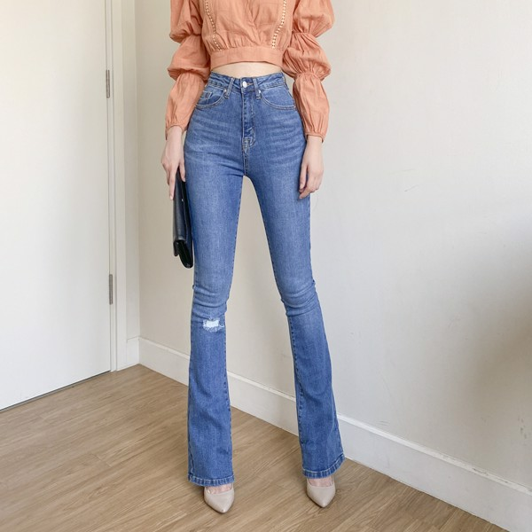 Torn Knee Flare Jeans