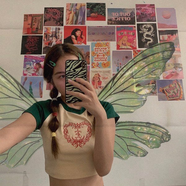 HEART LOGO RAGLAN CROPTOP- GREEN