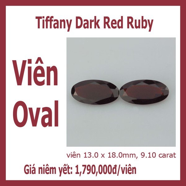 Viên Dark red ruby - hình oval 13x18mm