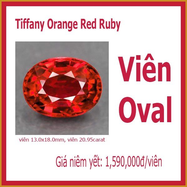 Orange red ruby nhân tạo - Hình Oval 13 x18mm