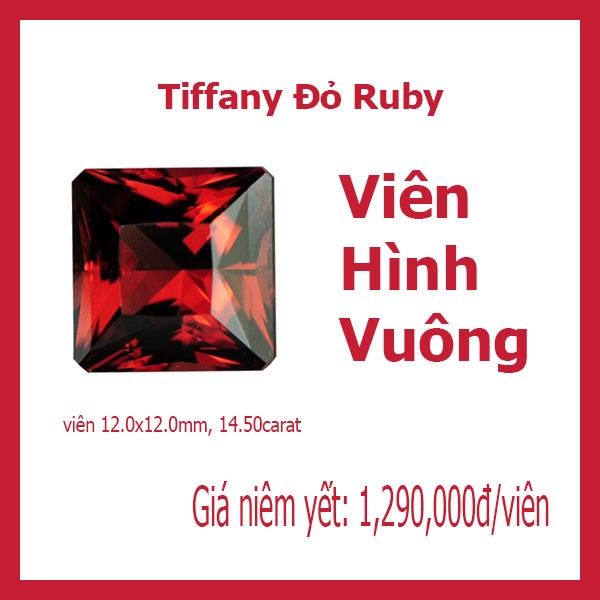 Red Ruby Square 12x12mm