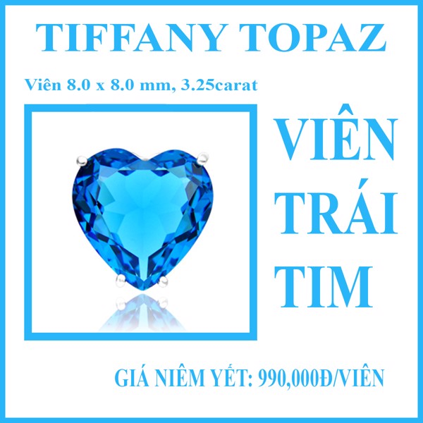 Light Blue Heart- viên trái tim 8x8mm