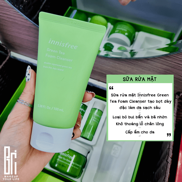 Bộ Chăm Sóc Da Innisfree Green Tea Balancing Skin Care Trio Set EX 6 Items ( Travel Exclusive)
