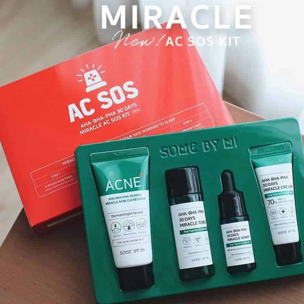 Set Trị Mụn Some By Mi AHA-BHA-PHA 30 Days Miracle AC SOS Kit Edition 4 Món