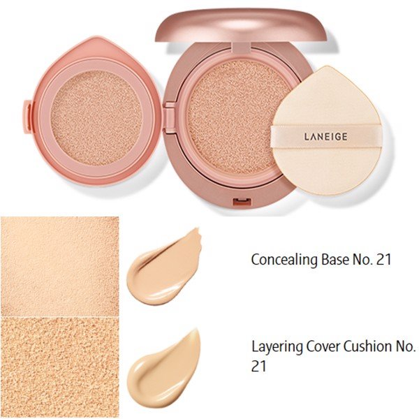 Laneige Layering Cover Cushion SPF34 PA++ & Concealing Base SPF50+ PA+++