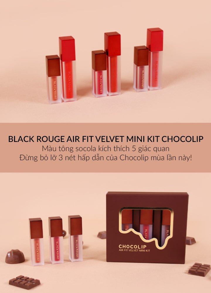 Black Rouge Air Fit Velvet Mini Kit Chocolip 14- Bici Cosmetics