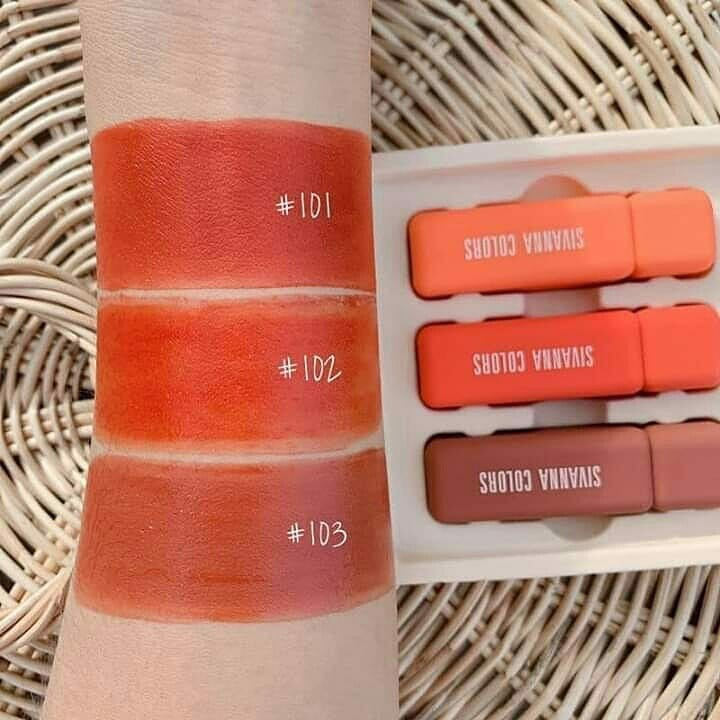 Set Son Sivanna Colors In The Peach Luxury Velvet Long Lasting Liquid Lipstick HF6027
