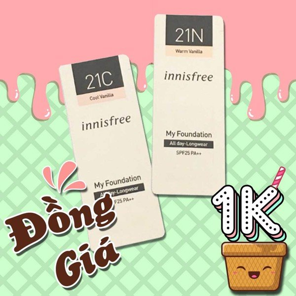 [Tặng 2 Sample Bất Kì Khi Mua Hóa Đơn 300k] Sample Kem Nền Innisfree My Foundation All day Long Wear 1ml