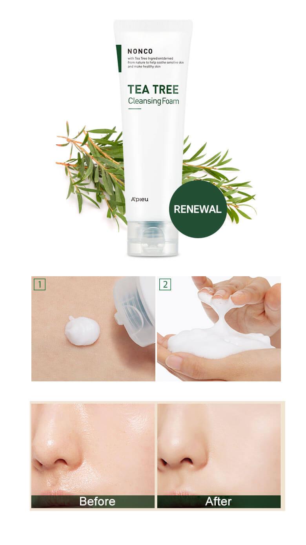 Sữa rửa mặt APieu Nonco Tea Tree Cleansing Foam-bicicosmetics.vn
