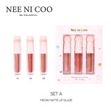 Set Son Nee Ni Coo Be Colorful Meow Matte Lip Glaze NC08