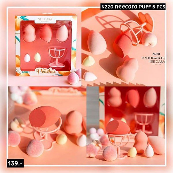 Set Bông Mút Nee Cara Be Colorful Peachs Set Of 5 Puff Applicators N220