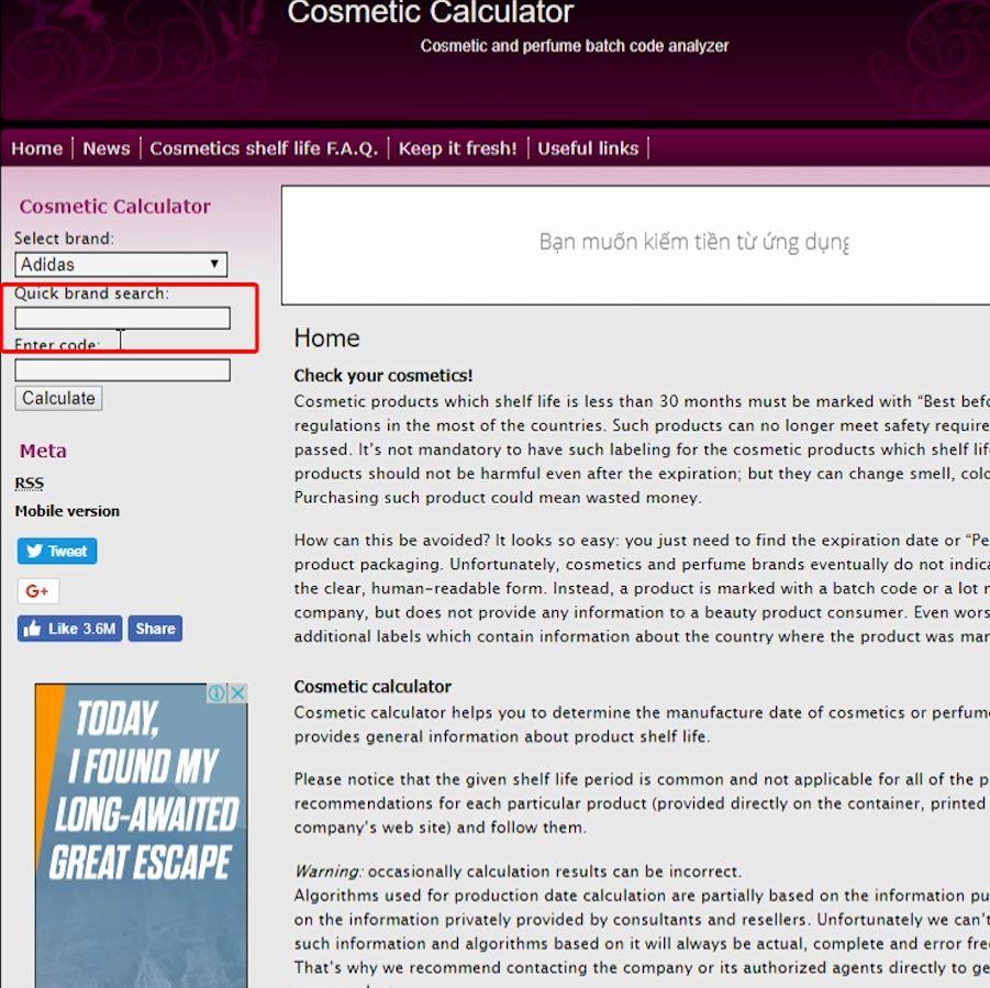Truy cập vào trang web: http://checkcomestics.net 1