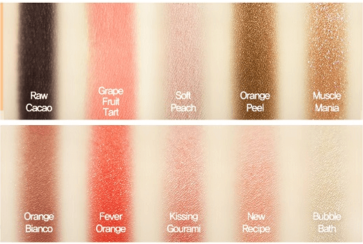 Swatch 10 tông màu của Phấn mắt Play Color Eyes Etude House Juice Bar 1
