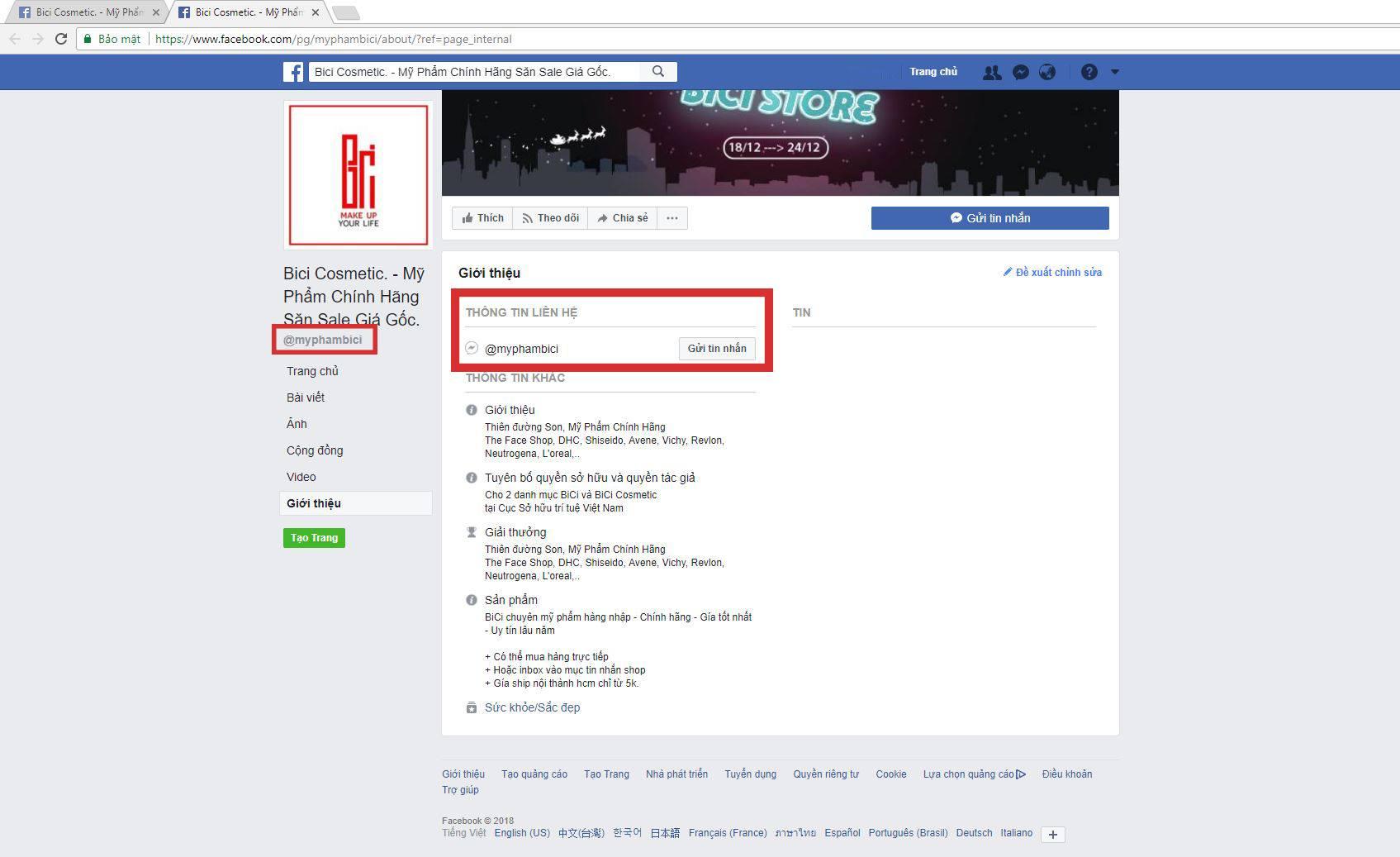 Facebook Giả Mạo Bici Cosmetic 2 1