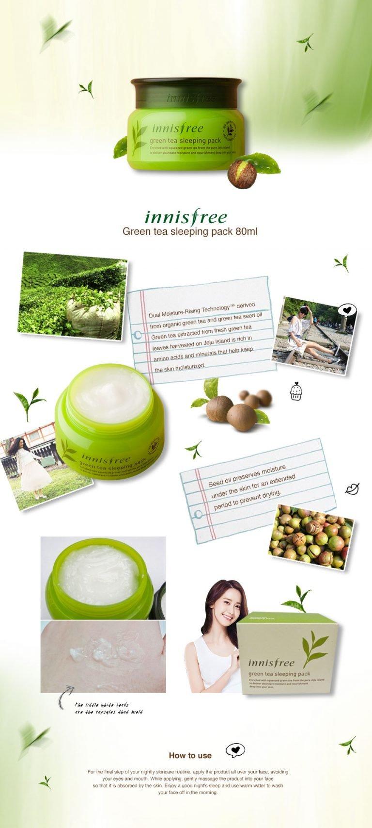 Mặt Nạ Ngủ Innisfree Green Tea Sleeping Pack