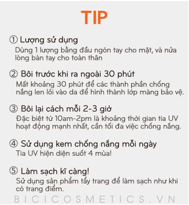 Các tips cần lưu ý khi sử dụng kem chống nắng 1
