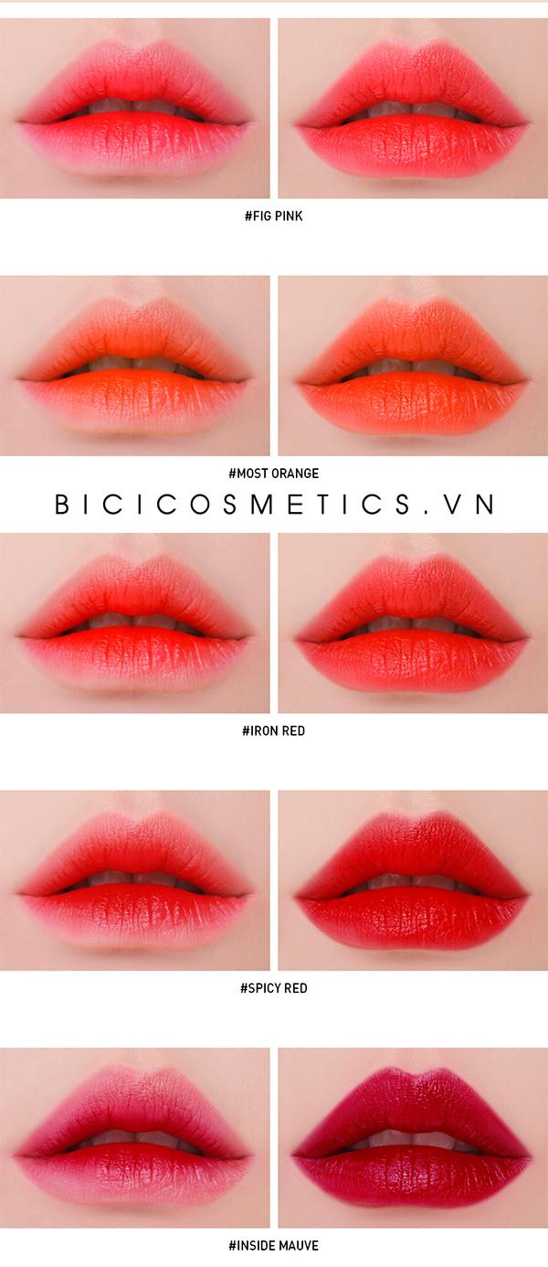 Son 3CE Take A Layer Tinted Water Tint swatch lồng môi và full môi