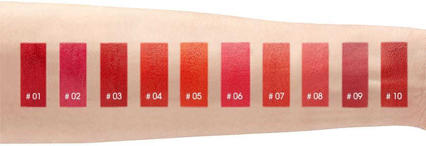 Swatch 10 màu Mamonde Creamy Tint Squeeze Lip trên tay 1