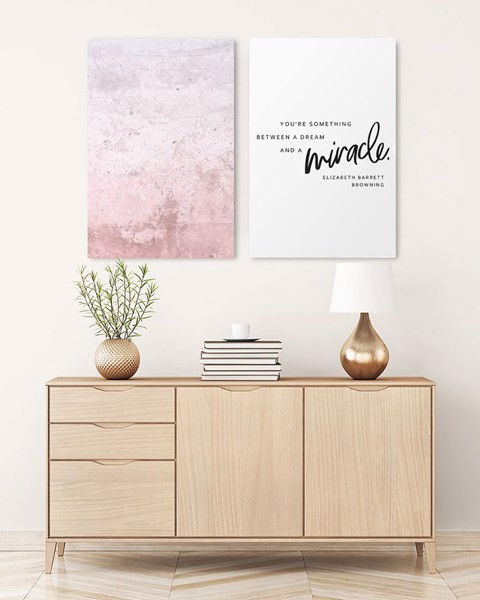 Bộ 2 Tranh Astract Pink Quote Art