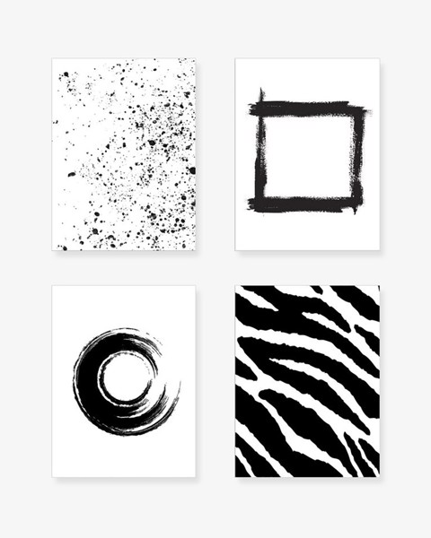 Bộ 4 Tranh Abstract Black And White