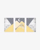 Bộ 3 Tranh Geometric Abstract Mountain Yellow