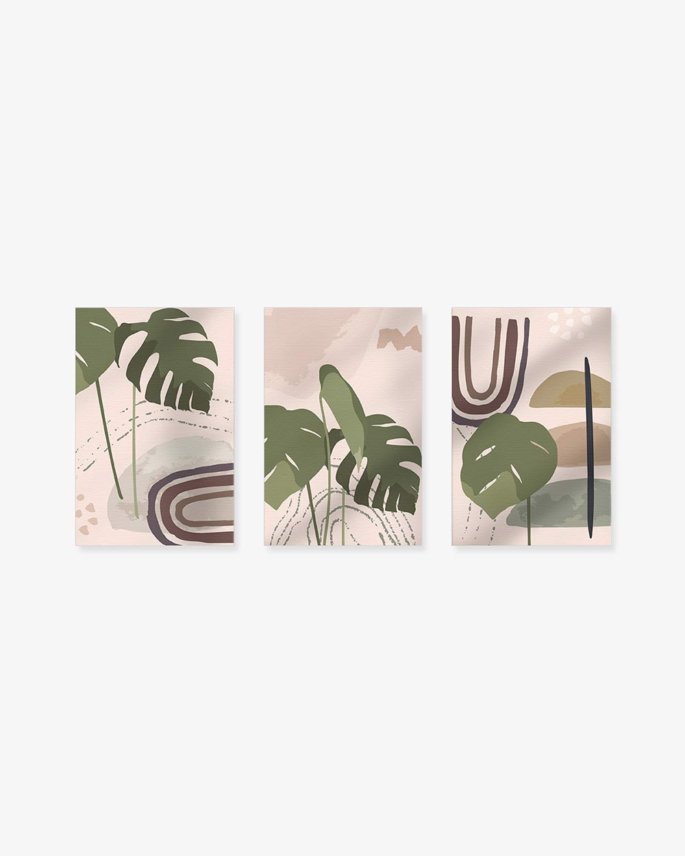 Bộ 3 Tranh Abstract Monstera Leaves