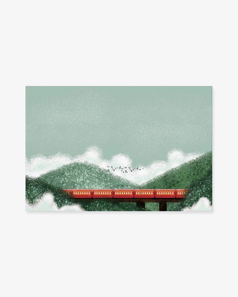 Tranh Train Landscape Painting