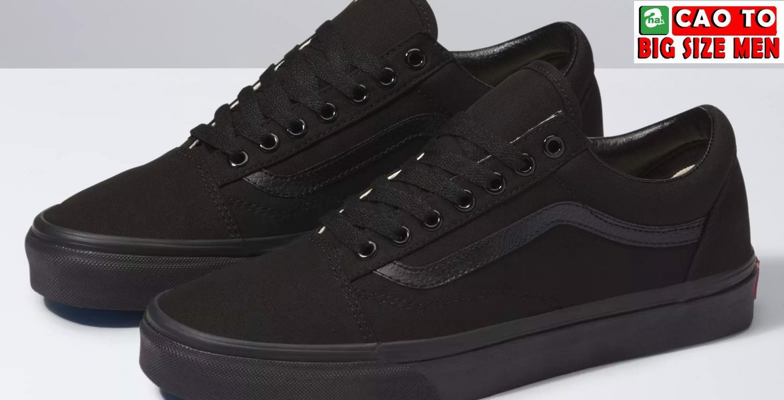 Giày Sneaker Vans Canvas Big Size Full Black