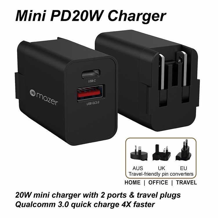 Củ Sạc Infinite.BOOST SuperMINI PD20W Wall Charger M-GaN20W-BK - Hàng Apple8