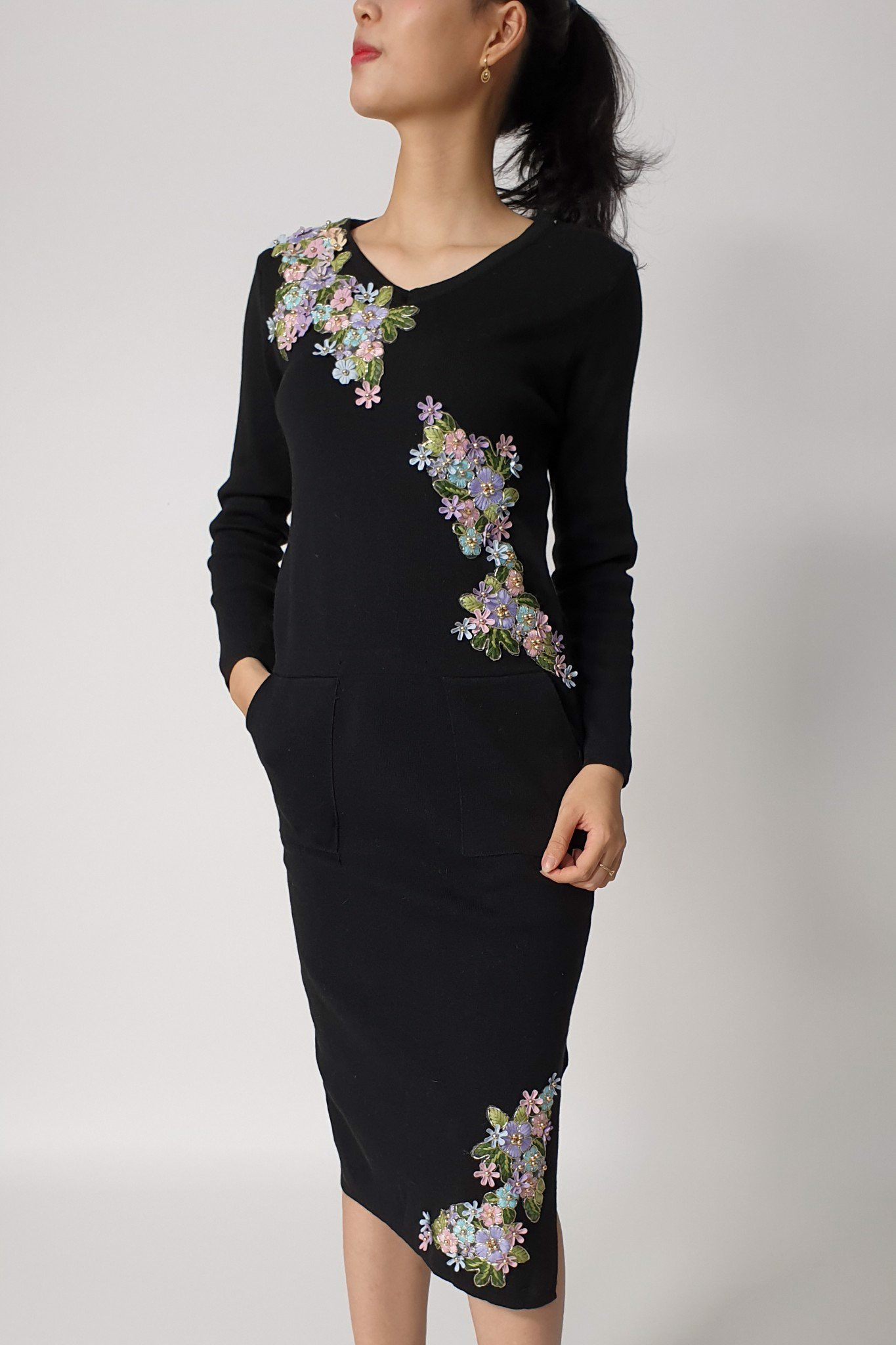 3D mini flowers black asymmetrical dress