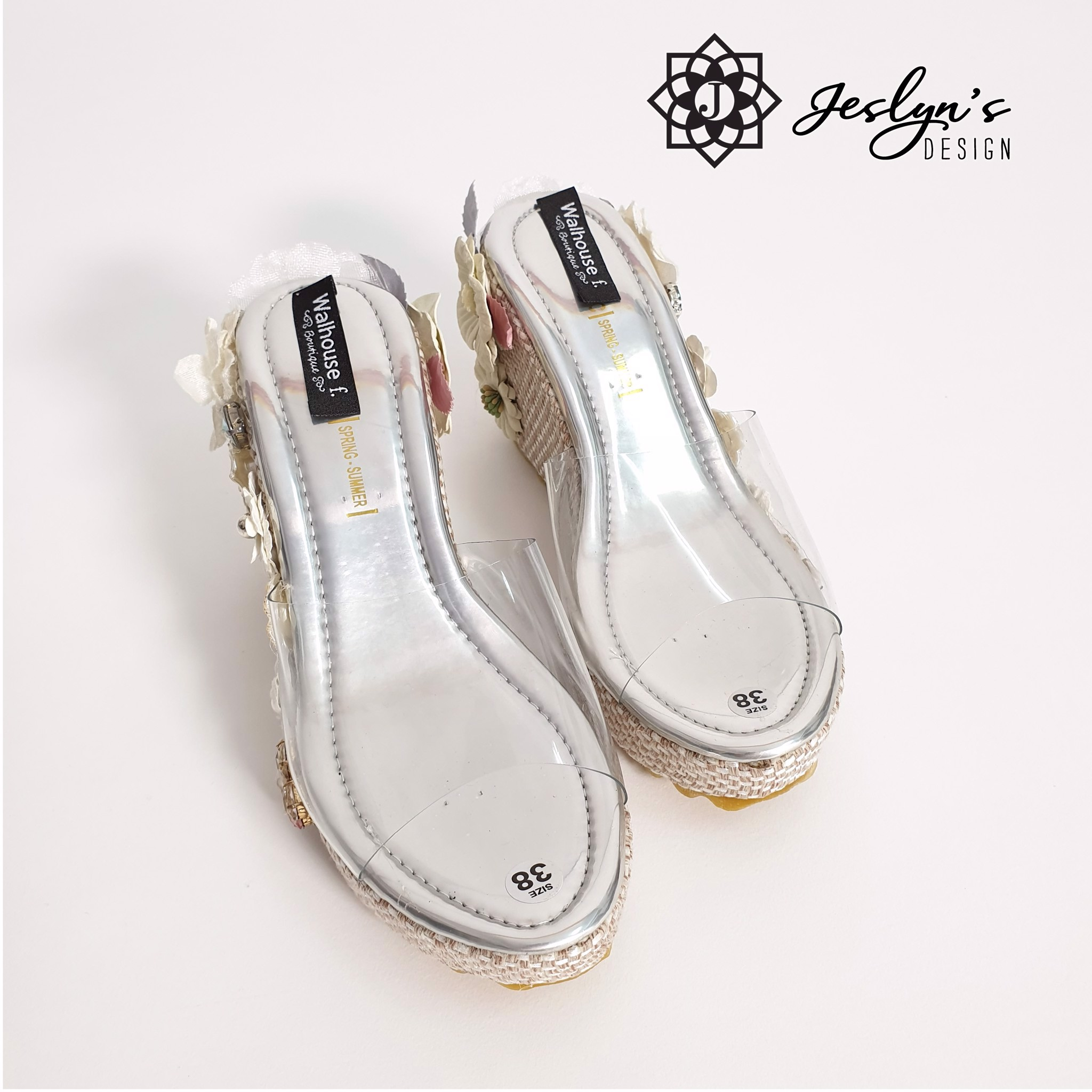 White 3D flowers Wedge Sandals - GD02
