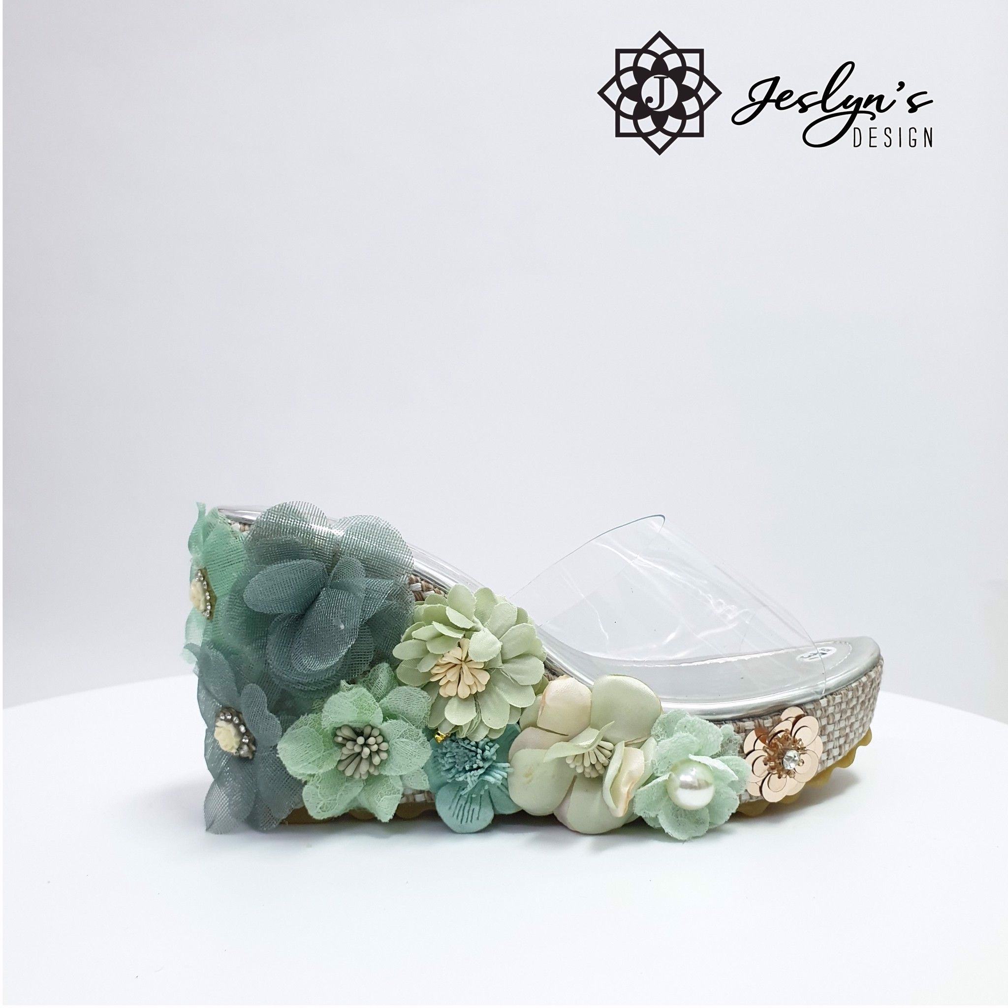 Green 3D flowers Wedge Sandals - GD10