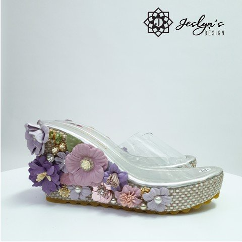 Purple 3D flowers Wedge Sandals - GD27
