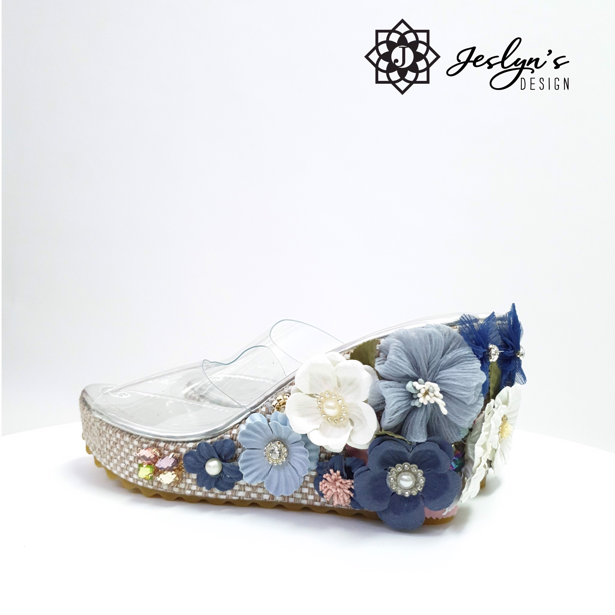 Blue Beach 3D flowers Wedge Sandals - GD30