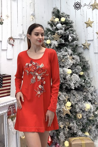 Red long top with 3D flower embroidery A220J