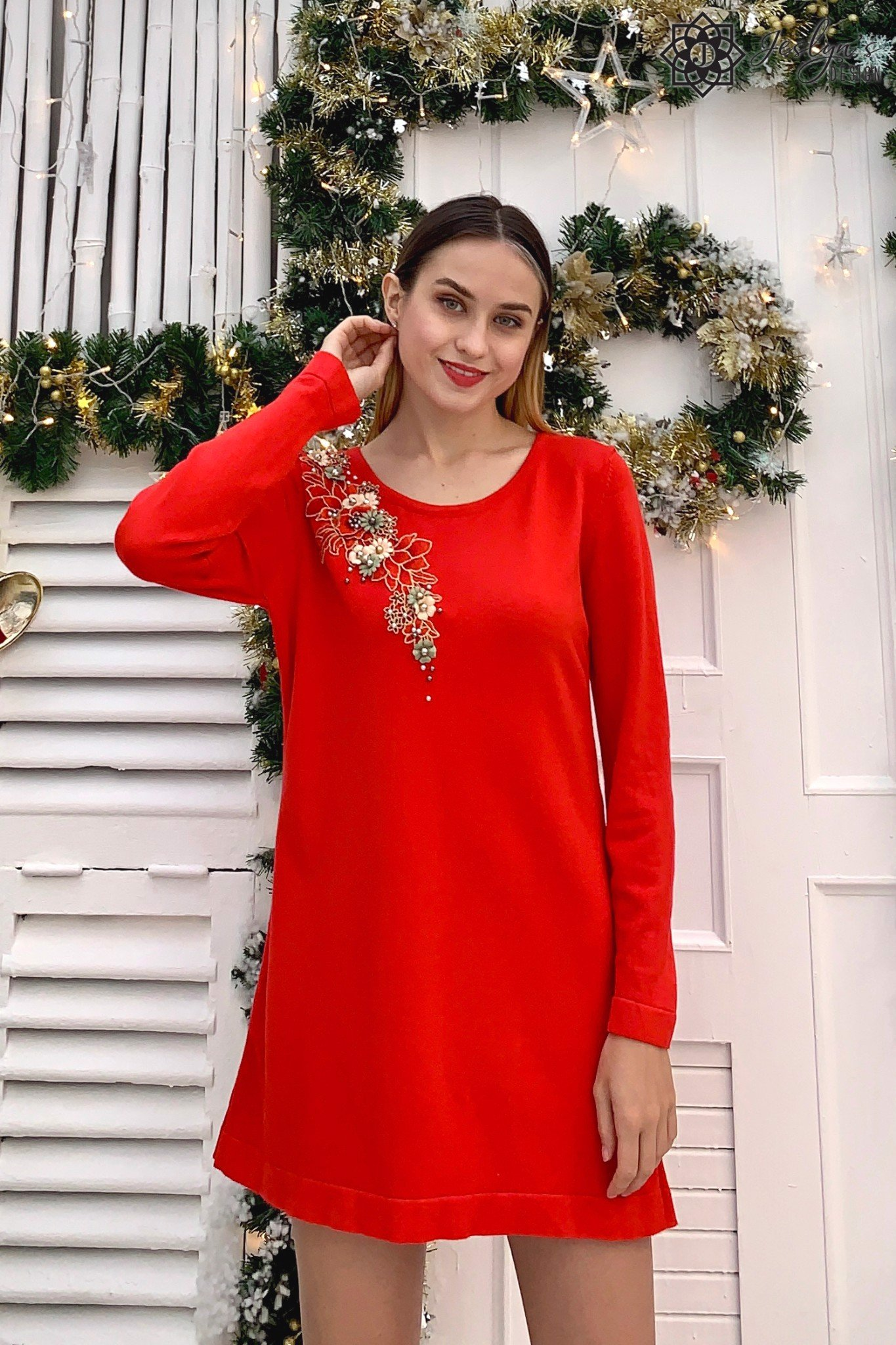 Red long top with 3D flower embroidery A227J