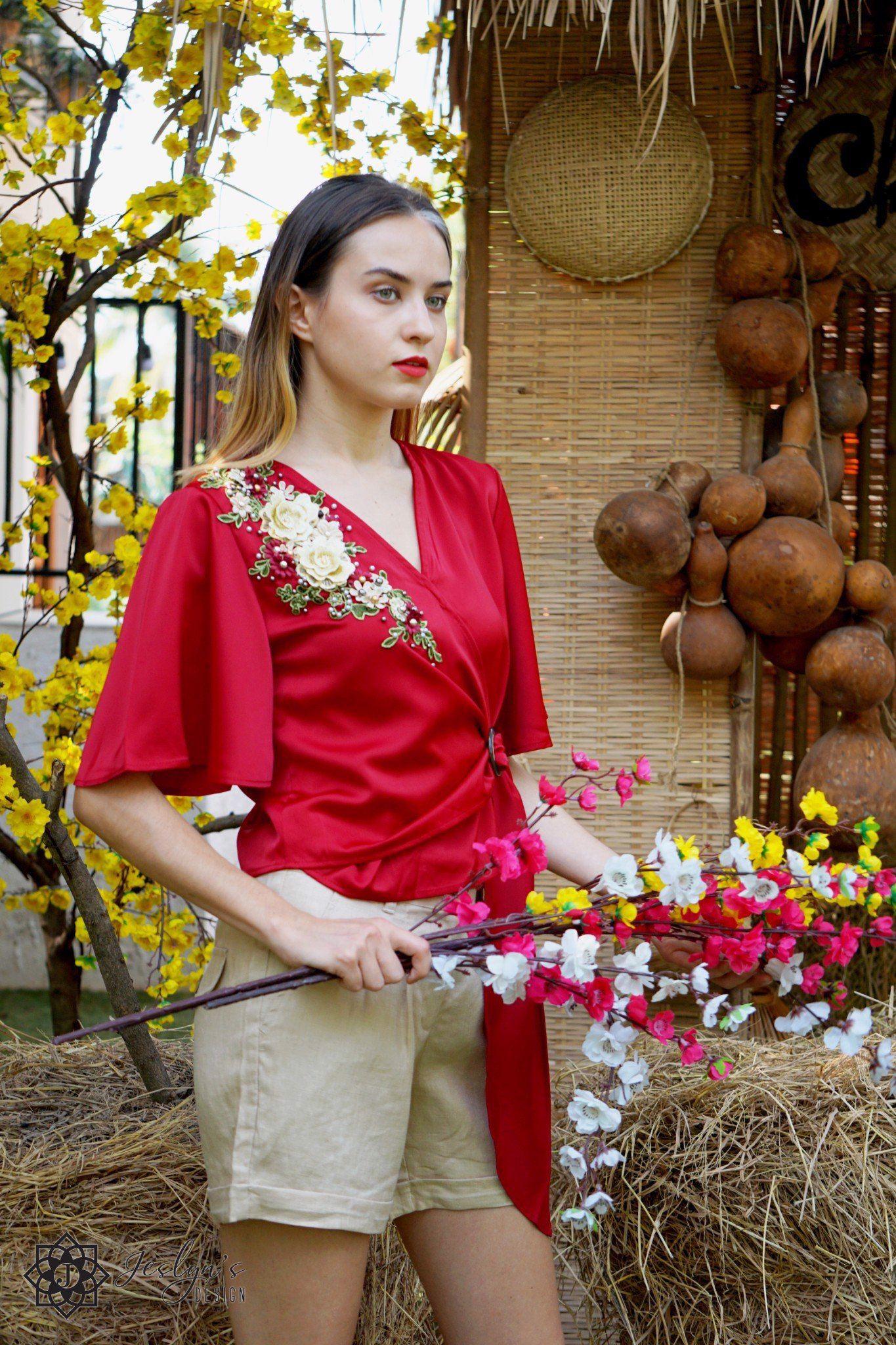 V-neck red top with 3D embroidery flower A332J