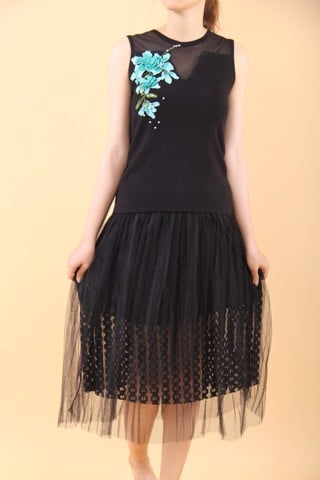 3D embroidery and pearls black sleeveless top with mesh pleated lace skirt