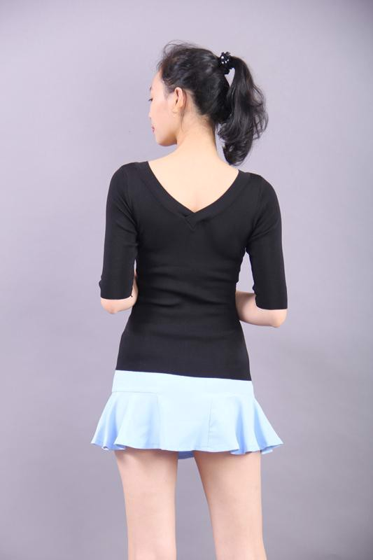 3D embroidery black top and blue mini skirt