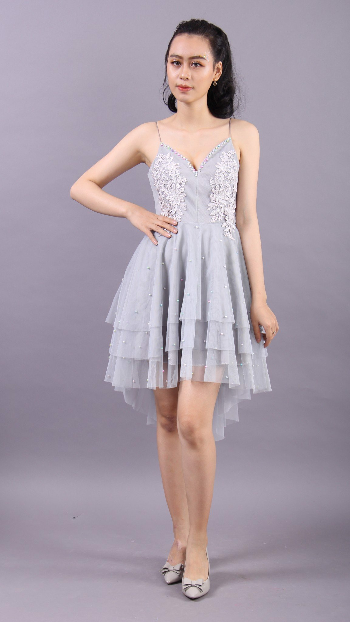 3D flower and pearls grey babydoll dress