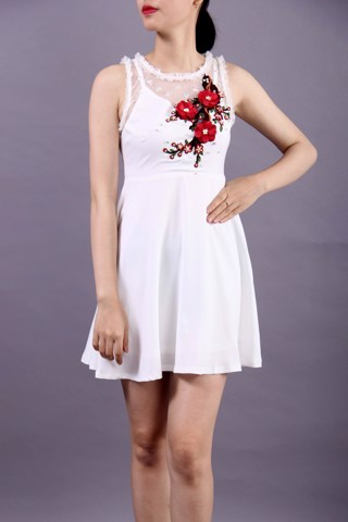 Apricot blossom and pearls white A-shape dress