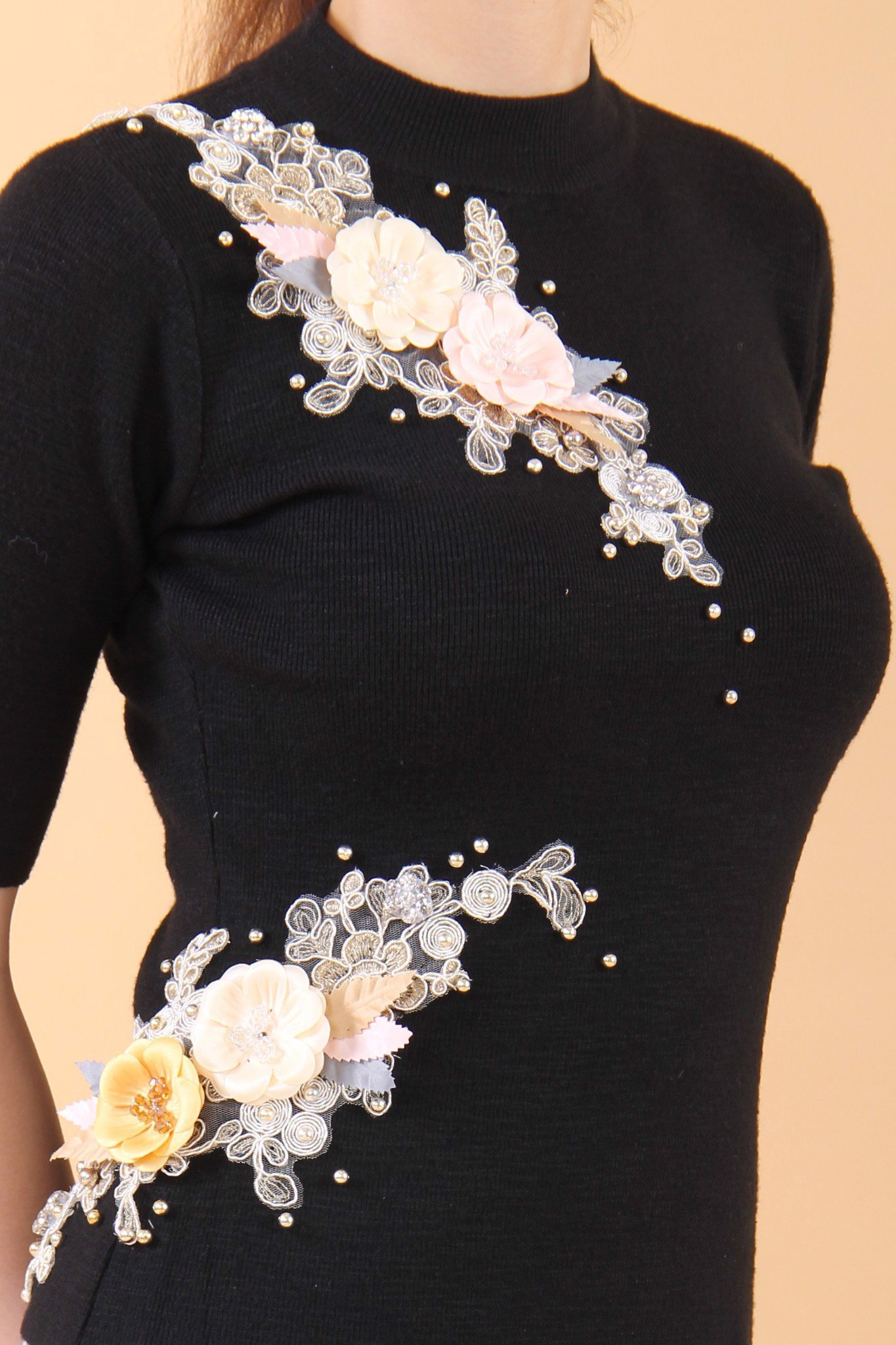 3D fabric flowers black high neck fitted top