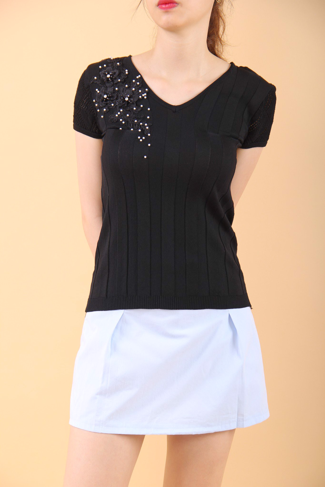 3D embroidery and pearls black top