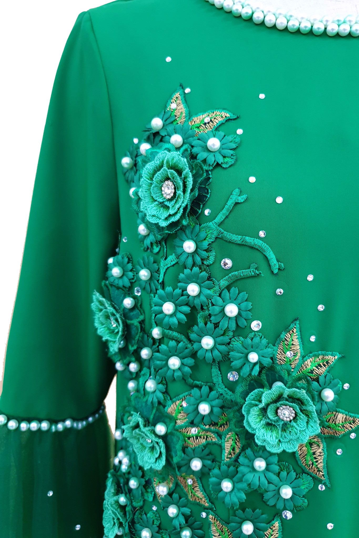 Arctic Dawn Camellia green dress